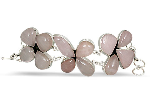 Design 10536: pink rose quartz ethnic bracelets