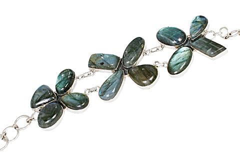 Design 10537: gray labradorite ethnic bracelets