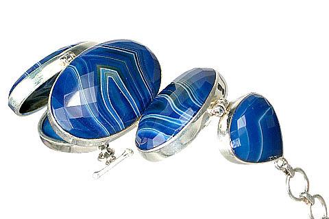 Design 10599: Blue, White chalcedony american-southwest, chunky bracelets