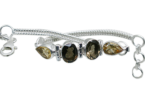Design 10863: brown,yellow smoky quartz bracelets