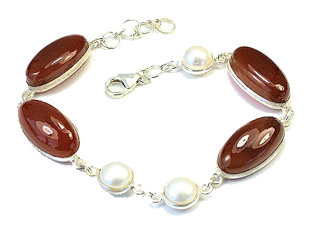 Design 11007: orange,white carnelian american-southwest bracelets