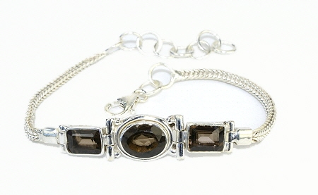 Design 11039: brown smoky quartz bracelets