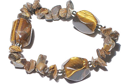Design 11105: brown tiger eye chipped bracelets