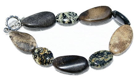 Design 11137: brown jasper chunky bracelets
