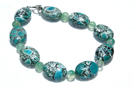 Design 11138: blue,green magnesite bracelets