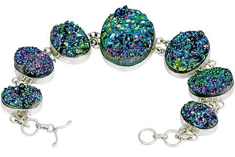 Design 11142: blue,pink drusy bracelets