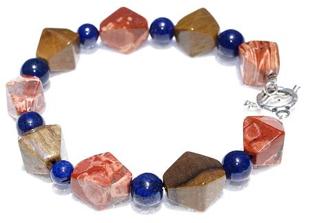 Design 11170: blue,brown,multi-color jasper chunky bracelets