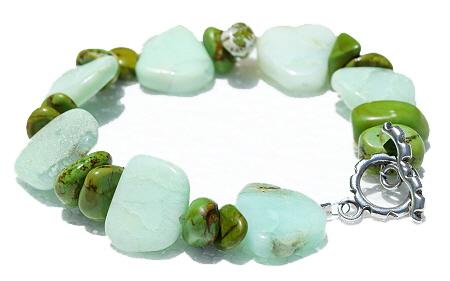 Design 11172: blue,green chrysoprase chipped bracelets