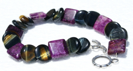 Design 11176: black,brown,purple jasper bracelets