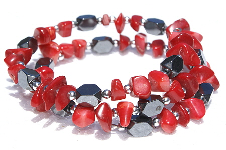 Design 11211: black,red hematite chipped bracelets