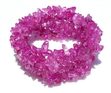 Design 11249: pink crystal chipped bracelets