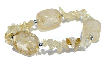 Design 11251: orange,white,yellow rutilated quartz chipped bracelets