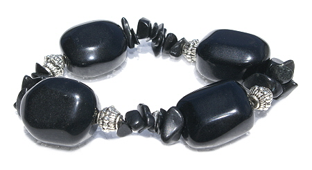 Design 11252: black jasper chipped bracelets