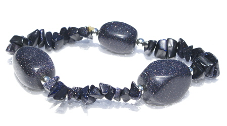 Design 11253: black,blue,purple goldstone chipped bracelets