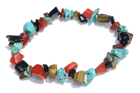 Design 11297: multi-color multi-stone chipped, stretch bracelets