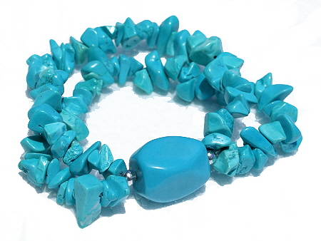 Design 11298: blue turquoise multistrand bracelets