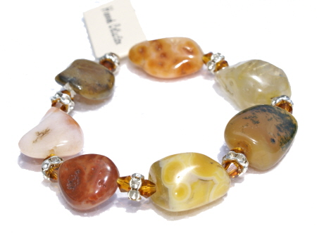 Design 11353: brown,orange,multi-color agate chunky, stretch bracelets