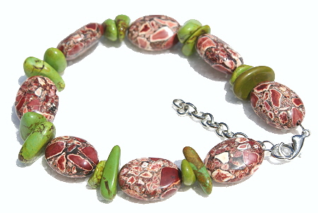 Design 11429: green,red magnesite chipped, chunky bracelets