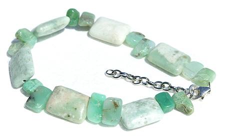 Design 11431: green,white chrysoprase chunky bracelets