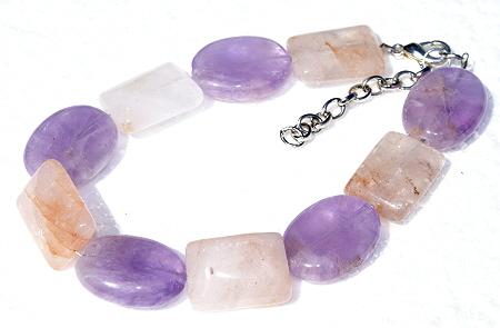 Design 11435: orange,purple rose quartz chunky bracelets