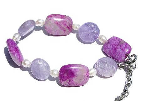 Design 11437: pink,purple,white amethyst stretch bracelets