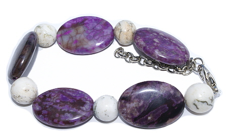 Design 11438: purple,white,multi-color jasper chunky bracelets