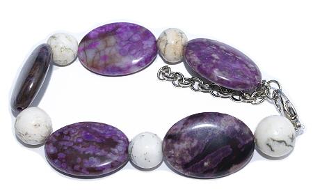 Design 11438: purple,white,multi-color jasper chunky bracelets