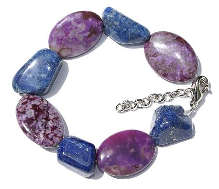 Design 11439: blue,purple lapis lazuli chunky, stretch bracelets