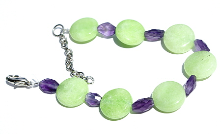 Design 11440: green,purple jade stretch bracelets