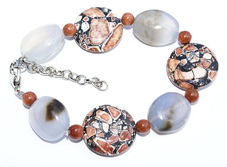 Design 11443: blue,gray,orange chalcedony chunky, stretch bracelets