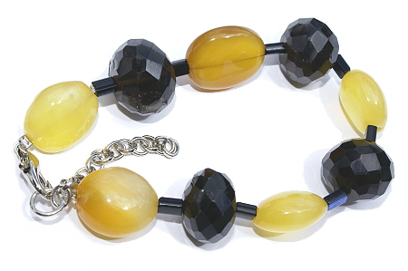 Design 11480: brown,yellow,multi-color smoky quartz chunky, stretch bracelets