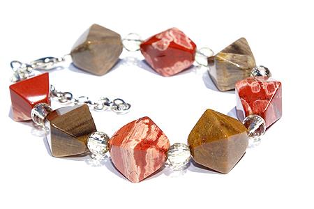 Design 11482: brown,red jasper chunky, stretch bracelets