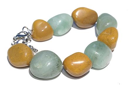 Design 11483: brown,green,yellow aventurine chunky bracelets