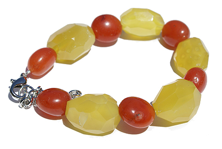 Design 11486: orange,yellow,multi-color chalcedony chunky, stretch bracelets