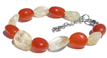 Design 11487: orange,yellow carnelian chunky bracelets