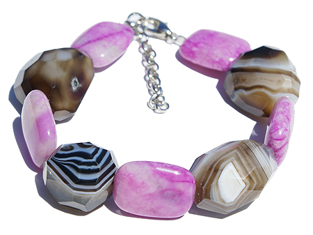Design 11495: brown,purple,multi-color onyx chunky bracelets