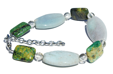 Design 11496: green agate stretch bracelets