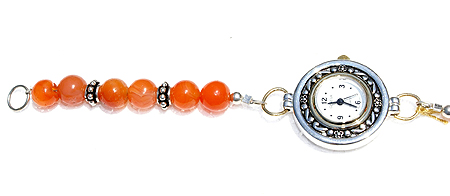 Design 11570: Orange, White carnelian bracelets