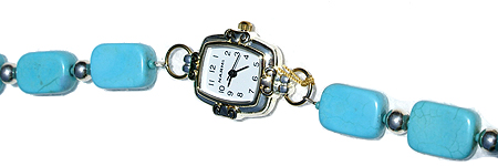 Design 11583: Blue, White turquoise bracelets