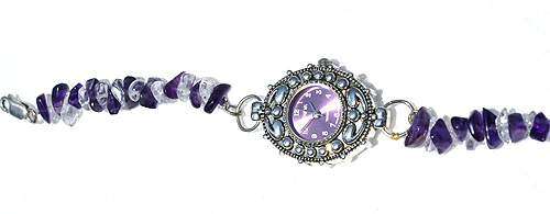 Design 11584: purple,white amethyst chipped bracelets