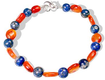 Design 12377: blue,orange carnelian bracelets
