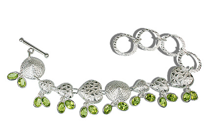 Design 12932: green peridot contemporary, heart bracelets
