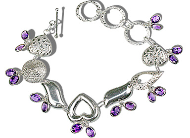 Design 12936: purple amethyst contemporary, heart bracelets