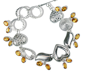 Design 12941: yellow citrine contemporary, heart bracelets