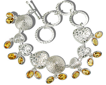 Design 12944: yellow citrine contemporary, heart bracelets