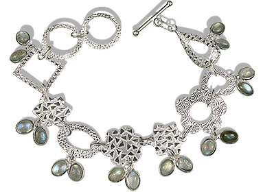 Design 12948: blue,green,gray labradorite contemporary bracelets