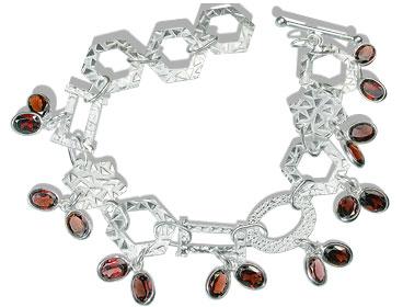 Design 12951: red garnet contemporary bracelets