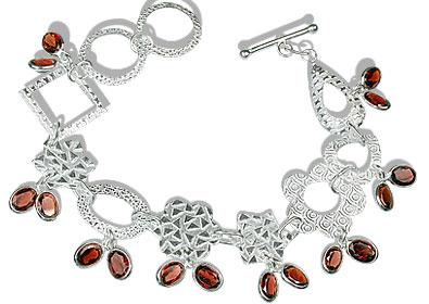 Design 12961: red garnet contemporary bracelets