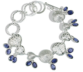 Design 12970: blue iolite contemporary, heart bracelets