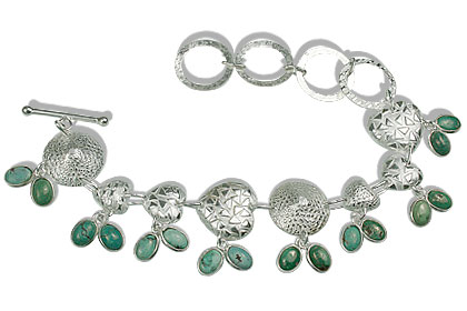 Design 12972: green turquoise contemporary, heart bracelets